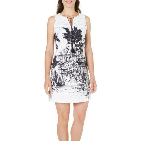 Julian Taylor Womens Beach Cabin Print Dress