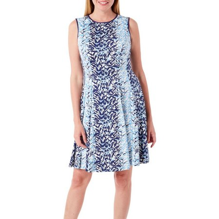 Julian Taylor Womens Leaf Print Fit & Flare