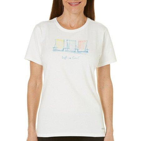 Life Is Good Womens Beach Chairs Crusher T-shirt