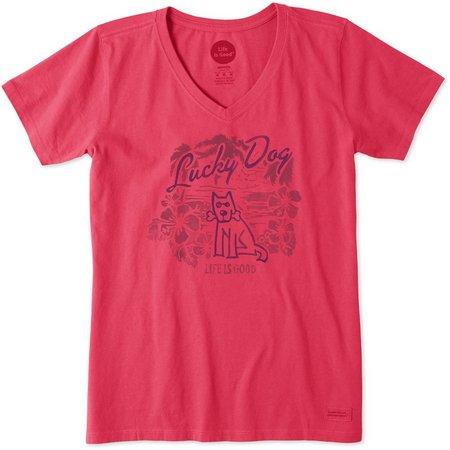 Life Is Good Womens Lucky Dog Crusher T-Shirt