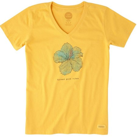 Life Is Good Womens Hibiscus Print Crusher T-Shirt
