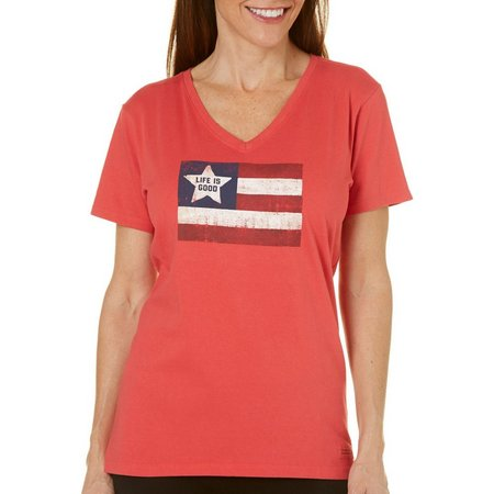 Life Is Good Womens Flag Screen Crusher T-Shirt
