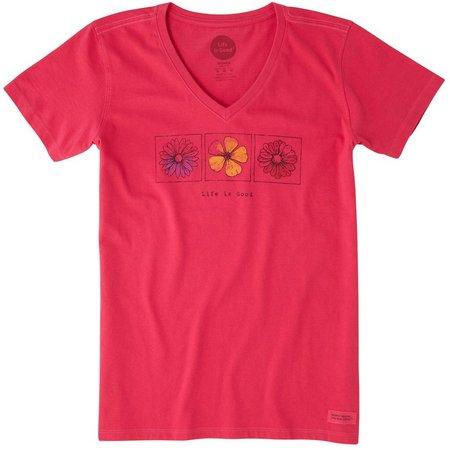 Life Is Good Women's Three Flower Crusher T-Shirt