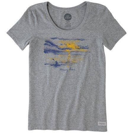 Life Is Good Womens Happy Kayak Crusher T-Shirt