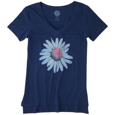 Life Is Good Womens Daisy Vibe Pocket T-Shirt