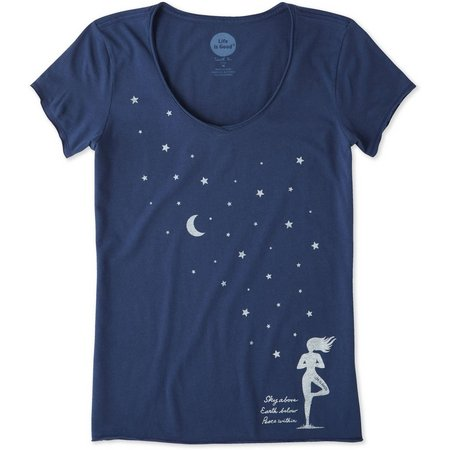 Life Is Good Womens Celestial Yoga Smooth T-Shirt
