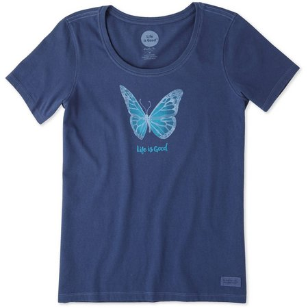 Life Is Good Womens Butterfly Watercolor Crusher T-shirt