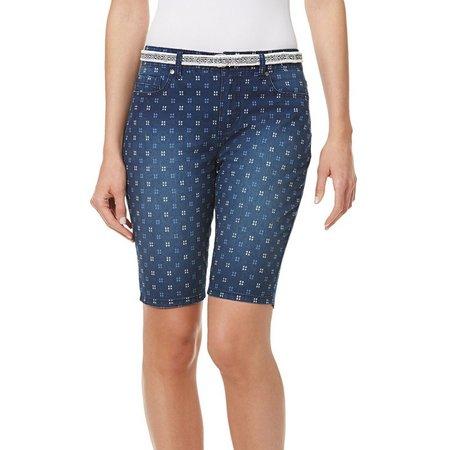 BANDOLINO Womens Mandie Belted Dot Print Bermuda Shorts