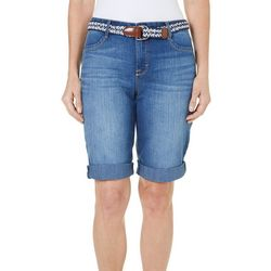 BANDOLINO Womens Riley Denim Belted Bermuda Shorts