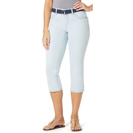 BANDOLINO Womens Mandie Lace Belt Denim Capris