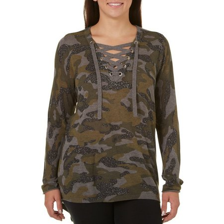 Democracy Plus High-Low Hem Camo Top