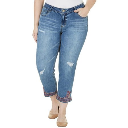 New! Democracy Plus Embroidered Raw Hem Flood Jeans