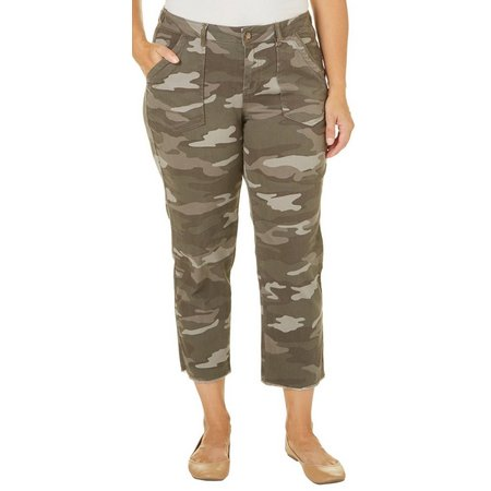 Democracy Plus Frayed Hem Camo Pants