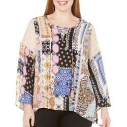 Democracy Plus Bell Sleeve Lace Up Top