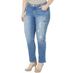 Democracy Plus Skinny Girlfriend Embroidered Jeans