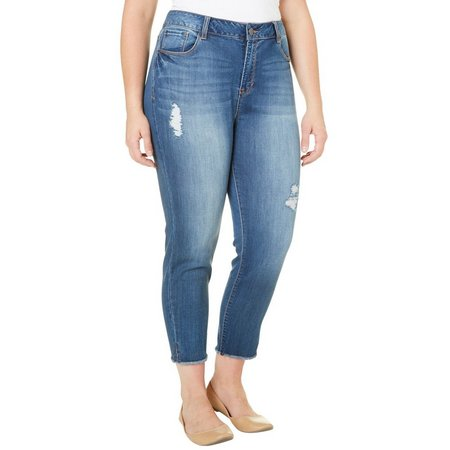Kensie Jeans Plus Distressed Vent Crop Jeans