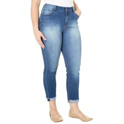 Kensie Plus Fray Cuff Ankle Jeans