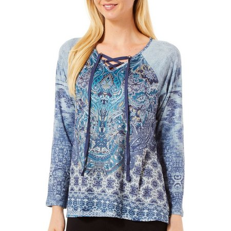 OneWorld Women Lace-Up Medallion Print Top