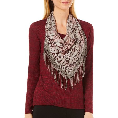 OneWorld Women Lace Scarf & Marled Knit Top