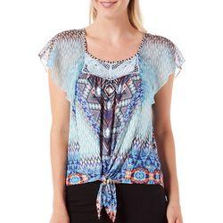 New! OneWorld Womens Ikat Flutter Sleeve Tie Front