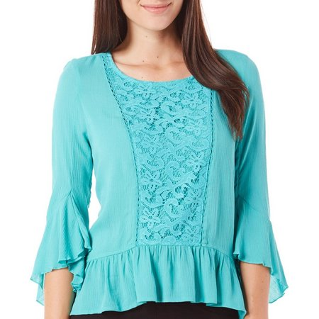 OneWorld Womens Bell Sleeve Crochet Inset Top