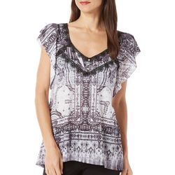 New! OneWorld Womens V Neck Paisley Print Tee