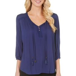 OneWorld Womens V-Neck Tie Front Peasant Top