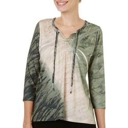 OneWorld Womens Sublimation Tie Neck Top