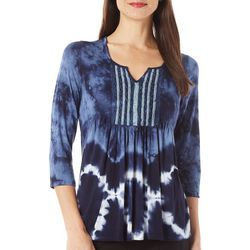 OneWorld Womens Embroidered Tie Dyed Top