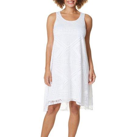 OneWorld Womens Solid Lace Shift Dress
