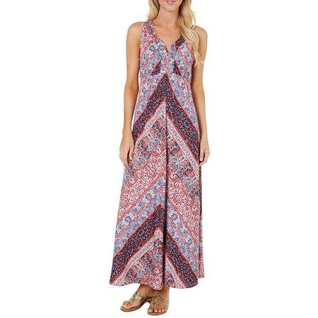 OneWorld Womens Floral Print Mix Maxi Dress