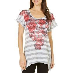 OneWorld Womens Floral Placememt Print Stripe Top