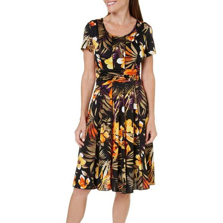 Sami & Jo Petite Ruched Floral Ruched Midi