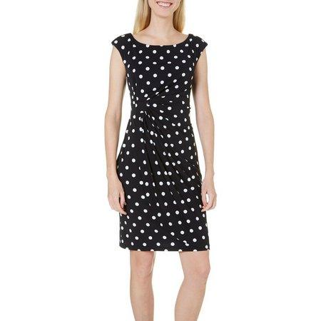Connected Apparel Petite Dot Wrap Dress