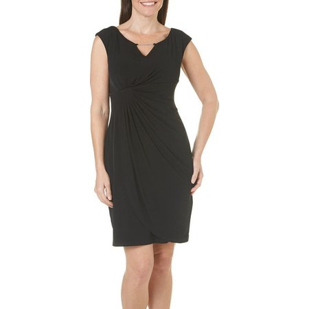 Connected Apparel Petite Faux Wrap Ruched Dress