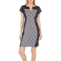 Connected Apparel Petite Geo Panel Print Dress