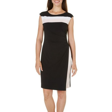 Connected Apparel Petite Colorblocked Sheath Dress