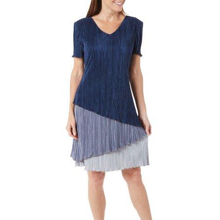 Connected Apparel Petite Colorblock Bodre Dress