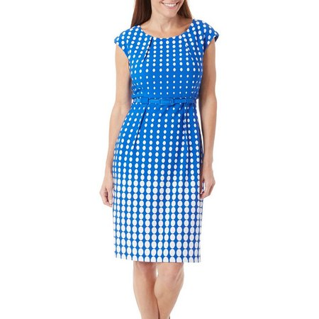 Connected Apparel Petite Polka Dot Print Dress