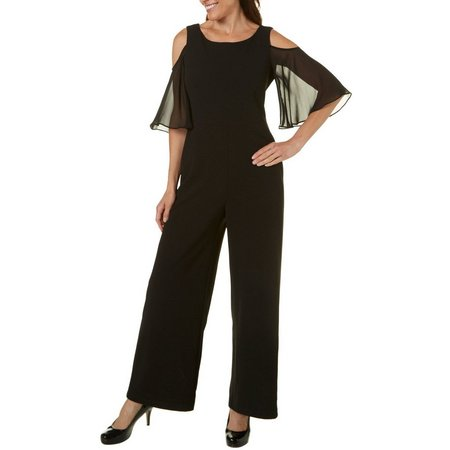 Connected Apparel Womens Cold Shoulder Sheer Sleeve Jumpsuit