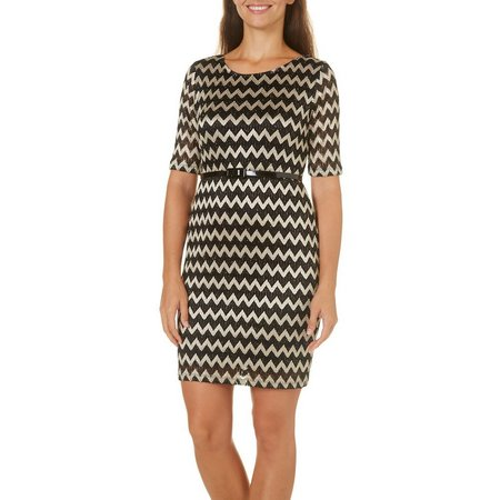 Connected Apparel Petite Chevron Belted Dress