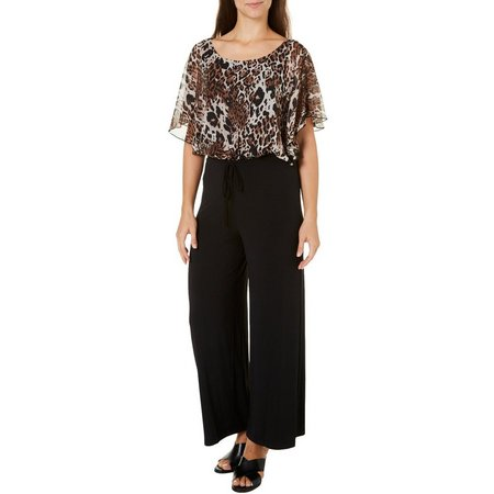 Connected Apparel Petite Animal Print Popover Jumpsuit