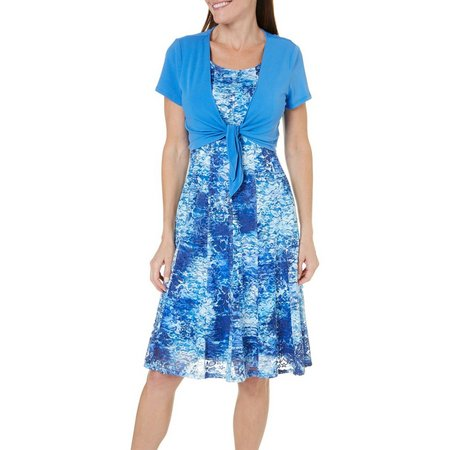Perceptions Petite 2-pc. Tie Jacket & Lace Dress