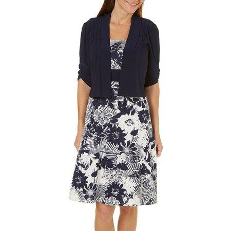 Perceptions Petite 2pc. Crop Jacket & Floral Dress
