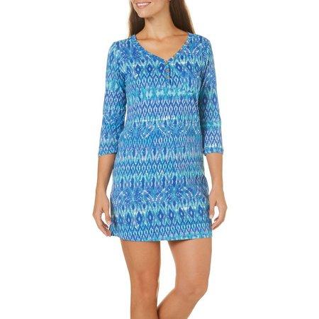Caribbean Joe Petite V-Neck Ikat Print Dress