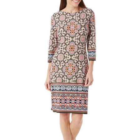 New! London Times Petite Medallion Print Shift Dress