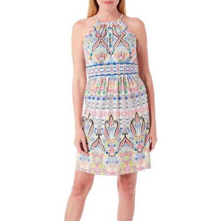 London Times Petite Paisley Print Halter Dress