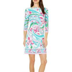 London Times Petite Floral Swirl Print Shift Dress