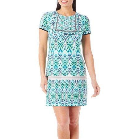 London Times Petite Ikat Printed Shift Dress