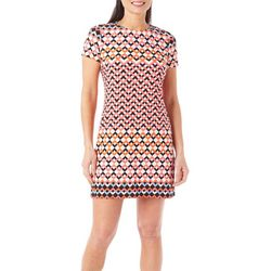 London Times Petite Zig Zag Printed Shift Dress